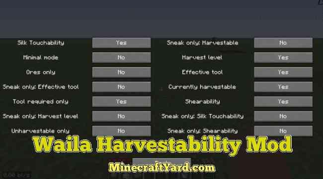 Waila Harvestibility Mod 1.13.1/1.13/1.12.2/1.11.2