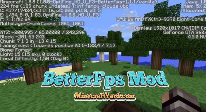 BetterFps Mod 1.11/1.10.2/1.9.4