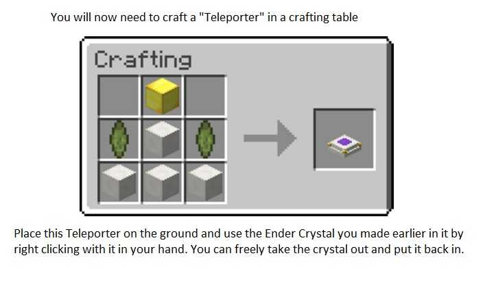 Simple Teleporters Mod Crafting Recipe