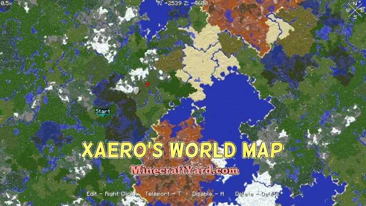 Xaero's World Map Mod 1.10.2/1.9.4/1.8.9 Download