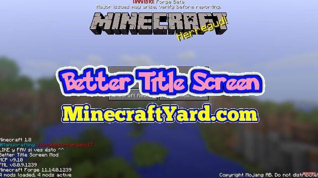 Better Title Screen Mod 1.14.3/1.13.2/1.12.2